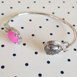 Andy Cuff Bracelet in Platinum Druzy & Pink